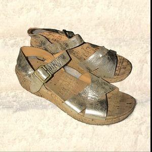 Anthropology Kork Ease metallic platform sandals